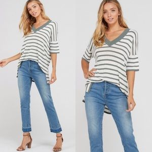 Tops - 🆕Re-posh sage stripe top, New.